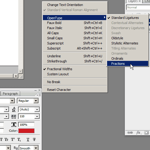 select Fractions in the Character panel options menu