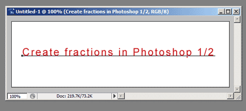 Creating fractions in Adobe Photoshop tutorial